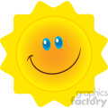 royalty free rf clipart illustration smiling sun cartoon mascot character vector illustration isolated on white background