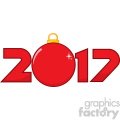happy 2017 new years eve greeting with christmas ball and numbers vector illustration isolated on white gif, png, jpg, eps, svg, pdf