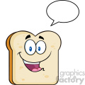 illustration cute bread slice cartoon character with speech bubble vector illustration isolated on white background