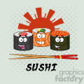 illustration sushi roll set cartoon characters with chopsticks and text vector illustration with background