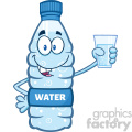 illustration cartoon ilustation of a water plastic bottle mascot character holding a water glass vector illustration isolated on white background