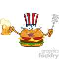 illustration happy american burger cartoon mascot character holding a beer and bbq slotted spatula vector illustration isolated on white background