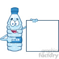 cartoon ilustation of a water plastic bottle mascot character holding and pointing to a blank banner vector illustration isolated on white background