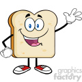 illustration cute bread slice cartoon character waving for greeting vector illustration isolated on white background