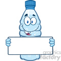 illustration cartoon ilustation of a water plastic bottle cartoon mascot character holding a blank sign vector illustration isolated on white background