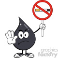 royalty free rf clipart illustration angry petroleum or oil drop cartoon character holding up a no smoking sign vector illustration isolated on white background
