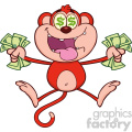 royalty free rf clipart illustration rich red monkey cartoon character jumping with cash money and dollar eyes vector illustration isolated on white