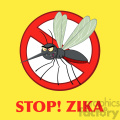 royalty free rf clipart illustration stop mosquito cartoon character with prohibited symbol vector illustration with background with text stop!zika gif, png, jpg, eps, svg, pdf