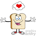 royalty free rf clipart illustration happy bread slice cartoon character with open arms and a heart vector illustration isolated on white backgrond