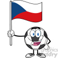happy soccer ball cartoon mascot character holding a flag of the czech republic vector illustration isolated on white background