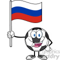happy soccer ball cartoon mascot character holding a flag of russia vector illustration isolated on white background