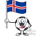 happy soccer ball cartoon mascot character holding a flag of iceland vector illustration isolated on white background