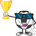 happy soccer ball cartoon character with sunglasses holding a golden trophy cup vector illustration isolated on white background