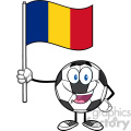 happy soccer ball cartoon mascot character holding a flag of romania vector illustration isolated on white background gif, png, jpg, eps, svg, pdf