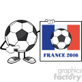 clipart illustration soccer ball faceless cartoon mascot character pointing to a sign with france flag and text france 2016 year vector illustration isolated on white background gif, png, jpg, eps, svg, pdf