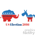 political elephant republican vs donkey democrat vector illustration flat design style isolated on white with text us election 2016