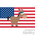 democrat donkey cartoon character with uncle sam hat over usa flag vector illustration flat design style isolated on white