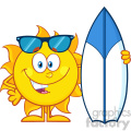 10115 happy sun cartoon mascot character with sunglasses holding a surf board vector illustration isolated on white background