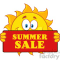 cute sun cartoon mascot character holding a sign with text summer sale vector illustration isolated on white background