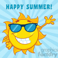 smiling sun cartoon mascot character with sunglasses waving for greeting with text happy summer vector illustration with blue background