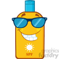 smiling bottle sunscreen cartoon mascot character with sunglasses sun and text spf vector illustration isolated on white background