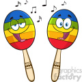 two colorful mexican maracas cartoon mascot characters singing vector illustration isolated on white background