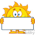 10113 cute sun cartoon mascot character holding a blank sign vector illustration isolated on white background