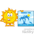 10132 talking sun cartoon mascot character pointing to a poster sign with tropical island and text summer time vector illustration isolated on white background