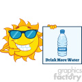 talking sun cartoon mascot character with sunglasses pointing to a sign with text drink more water vector illustration isolated on white background
