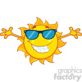 smiling summer sun cartoon mascot character with sunglasses and open arms for hugging vector illustration isolated on white background