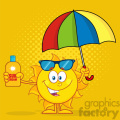 cute sun cartoon mascot character holding a umbrella and bottle of sun block cream vith text vector illustration with yellow haftone background