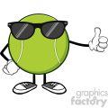 tennis ball faceless cartoon mascot character with sunglasses giving a thumb up vector illustration isolated on white background