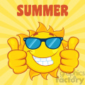 smiling sun cartoon mascot character with sunglasses giving a double thumbs up vector illustration with yellow sunburst background and text summer