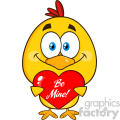 cute yellow chick cartoon character holding a be mine valentine love heart vector illustration isolated on white