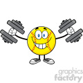 smiling softball cartoon mascot character working out with dumbbells vector illustration isolated on white background