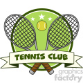 crossed racket and tennis ball logo design label vector illustration isolated on white and text tennis club