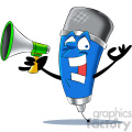 cartoon microphone mascot character with a megaphone