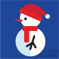 snowman profile with santa hat on blue square icon vector art
