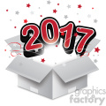 red 2017 new year exploding from a box vector art