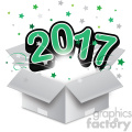 green 2017 new year exploding from a box vector art  gif, png, jpg, eps, svg, pdf