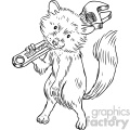 raccoon holding a wrench tool character vector book illustration