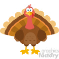 Thanksgiving Turkey Bird Cartoon Mascot Character Vector Flat Design