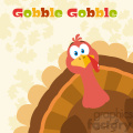 thanksgiving turkey bird cartoon mascot character peeking from a corner vector flat design over background with autumn leaves and text gobble gobble gif, png, jpg, eps, svg, pdf