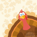 Thanksgiving Turkey Bird Cartoon Mascot Character Peeking From A Corner Vector Flat Design Over Background With Autumn Leaves