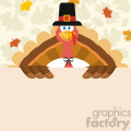 10598 Happy Thanksgiving Turkey Bird Cartoon Mascot Character Holding A Blank Sign Vector Flat Design Over Background With Autumn Leaves