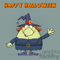 Ugly Witch Cartoon Mascot Character Waving For Greeting Vector With Halftone Background And Text Happy Halloween