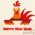 happy red rooster bird cartoon holding a sign vector flat design over halftone background with text happy new year gif, png, jpg, eps, svg, pdf