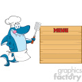 chef blue shark cartoon licking his lips and holding a spatula to wooden blank board with text menu vector gif, png, jpg, eps, svg, pdf