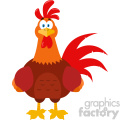 Cute Red Rooster Bird Cartoon Vector Flat Design