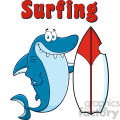 Smiling Blue Shark Cartoon With Surfboard And Text Surfing Vector Vector